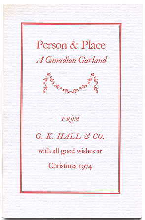 Image for PERSON & PLACE:  A CANADIAN GARLAND.