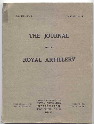 Image for THE JOURNAL OF THE ROYAL ARTILLERY.  VOL. LXII, No. 4.  JANUARY, 1936.