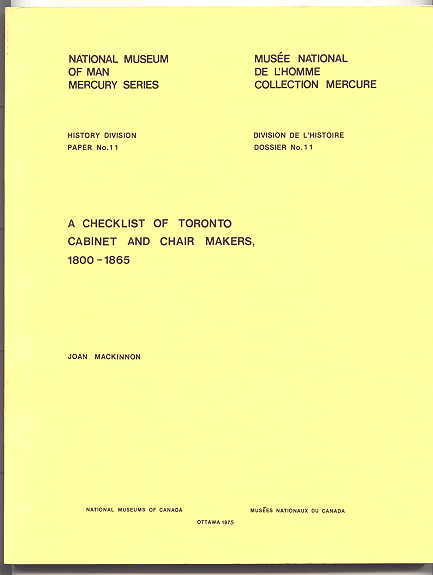 Image for A CHECKLIST OF TORONTO CABINET AND CHAIR MAKERS, 1800-1865.