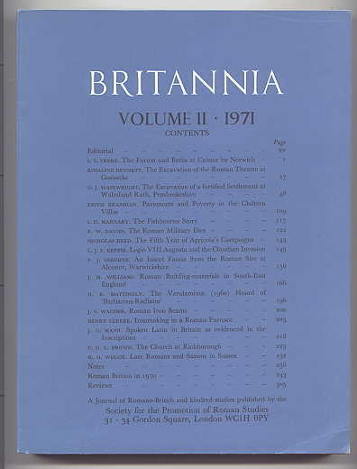 Image for BRITANNIA:  A JOURNAL OF ROMANO-BRITISH AND KINDRED STUDIES.  VOLUME 2 1971.  (VOLUME II - 1971.)