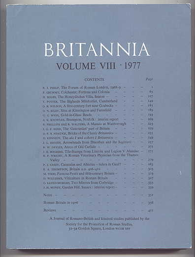 Image for BRITANNIA:  A JOURNAL OF ROMANO-BRITISH AND KINDRED STUDIES.  VOLUME 8 1977.  (VOLUME VIII - 1977.)