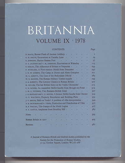 Image for BRITANNIA:  A JOURNAL OF ROMANO-BRITISH AND KINDRED STUDIES.  VOLUME 9 1978.  (VOLUME IX - 1978.)