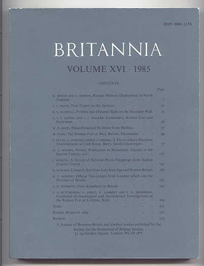 Image for BRITANNIA:  A JOURNAL OF ROMANO-BRITISH AND KINDRED STUDIES.  VOLUME XVI - 1985.  (VOLUME 16.)
