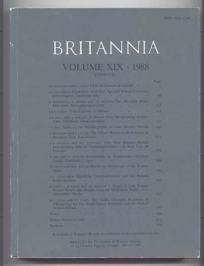 Image for BRITANNIA:  A JOURNAL OF ROMANO-BRITISH AND KINDRED STUDIES.  VOLUME XIX - 1988.  (VOLUME 19 - 1988.)