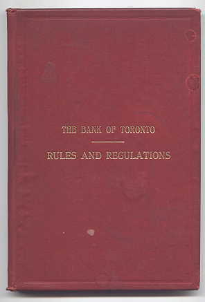 Image for THE BANK OF TORONTO:  RULES AND REGULATIONS.  1st MARCH, 1915.