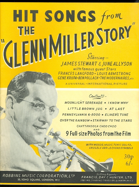 "Image for HIT SONGS FROM THE ""GLENN MILLER STORY"".  STARRING JAMES STEWART & JUNE ALLYSON WITH FAMOUS GUEST STARS FRANCES LANGFORD, LOUIS ARMSTRONG, GENE KRUPA, BEN POLLACK, THE MODERNAIRES, ETC."