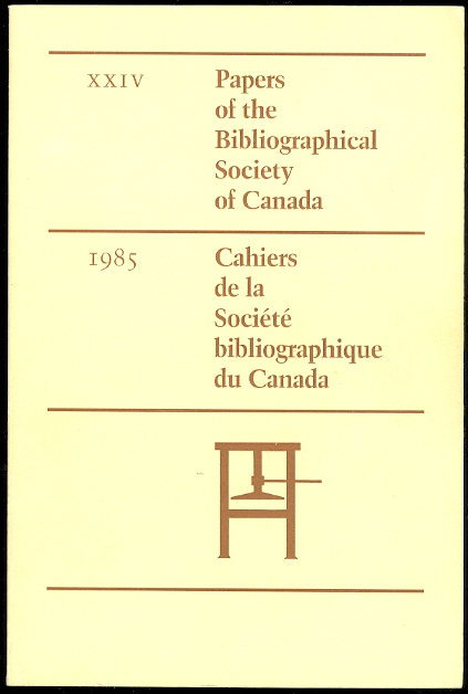 Image for PAPERS OF THE BIBLIOGRAPHICAL SOCIETY OF CANADA XXIV.