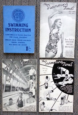 Image for THE SWIMMING TIMES.  VOL. XVIII. NO. 1 MARCH 1940 + NO. 3. MAY 1940 + NO. 4, JUNE 1940.  WITH: SWIMMING INSTRUCTION: LAND DRILLS AND WATER PRACTICE.  4 SWIMMING-RELATED ITEMS.