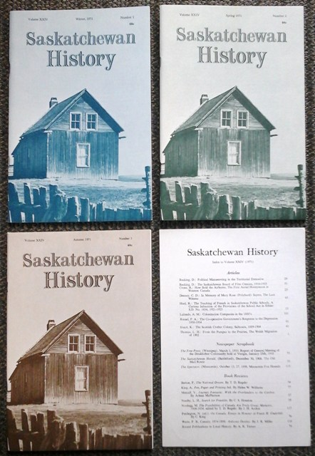 Image for SASKATCHEWAN HISTORY.  VOL. XXIV NO.s 1, 2 & 3.  (WINTER, SPRING, AUTUMN 1971).  PLUS INDEX.