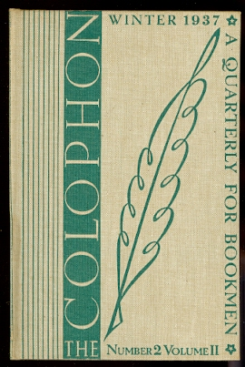 Image for THE COLOPHON.  NEW SERIES.  WINTER 1937.  VOLUME II, NUMBER 2.