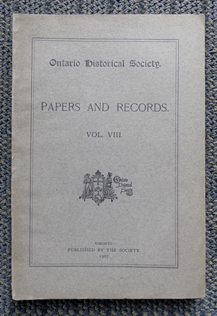Image for ONTARIO HISTORICAL SOCIETY.  PAPERS AND RECORDS.  VOL.VIII.