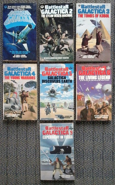 Image for BATTLESTAR GALACTICA 1, 2, 3, 4, 5, 6, 9.  1. BATTLESTAR GALACTICA / 2. THE CYLON DEATH MACHINE / 3. THE TOMBS OF KOBOL / 4. THE YOUNG WARRIORS / 5. GALACTICA DISCOVERS EARTH / 6. THE LIVING LEGEND / 9. EXPERIMENT IN TERRA.  7 VOLUMES.