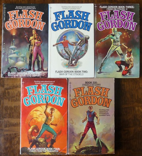 Image for FLASH GORDON.  BOOK ONE: MASSACRE IN THE 22nd CENTURY.  BOOK TWO: WAR OF THE CITADELS.  BOOK THREE: CRISIS ON CITADEL II.  BOOK FOUR: FORCES FROM THE FEDERATION.  BOOK SIX: CITADELS ON EARTH.  5 BOOK PARTIAL SET.