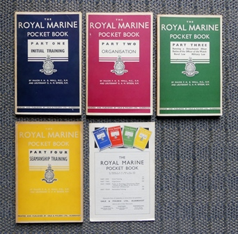 Image for THE ROYAL MARINE POCKET BOOK.  PART I, II, III & IV.  COMPLETE FOUR VOLUME SET WITH PROMOTIONAL FLYER.  (PART ONE: INITIAL TRAINING / PART TWO: ORGANISATION /  PART THREE: RUNNING A DETATCHMENT AFLOAT, ETC. / PART FOUR: SEAMANSHIP TRAINING.)