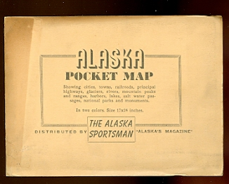Image for ALASKA POCKET MAP.  SHOWING CITIES, TOWNS, RAILROADS, PRINCIPAL HIGHWAYS, GLACIERS, RIVERS, MOUNTAIN PEAKS AND RANGES, HARBORS, LAKES, SALT WATER PASSAGES, NATIONAL PARKS AND MONUMENTS.  IN TWO COLORS.