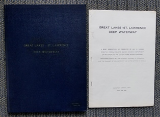 Image for THE GREAT LAKES - ST. LAWRENCE DEEP WATERWAY.  WITH THREE ADDITIONAL ITEMS:  TEXT OF A PRESENTATION BY LINDSAY; AN ADDRESS BY HONOURABLE LIONEL CHEVRIER; INFORMATION ON THE BEAUHARNOIS CANAL AND POWER HOUSE.