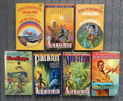 Image for ADVENTURES OF PIP AND FLINX SERIES.  7 OF THE FIRST 8 VOLUMES.  THE TAR-AIYM KRANG / ORPHAN STAR / THE END OF THE MATTER / BLOODHYPE / FLINX IN FLUX / MID-FLINX / REUNION.  7 BOOKS IN TOTAL.