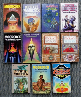 Image for 11 MICHAEL MOORCOCK NOVELS.  1. COUNT BRASS. 2. CAMPION OF GARATHORM. 3. QUEST FOR TANELORN. 4. JEWEL IN THE SKULL. 5. MAD GOD'S AMULET. 6. RUNESTAFF. 7. KNIGHT OF SWORDS. 8. QUEEN OF SWORDS. 9. OAK AND THE RAM. 10. HOLLOW LANDS. 11. END OF ALL SONGS.