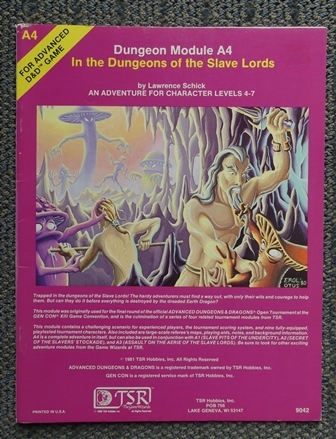 Image for IN THE DUNGEONS OF THE SLAVE LORDS.  DUNGEON MODULE A4.  AN ADVENTURE FOR CHARACTER LEVELS 4-7.  ADVANCED DUNGEONS & DRAGONS.