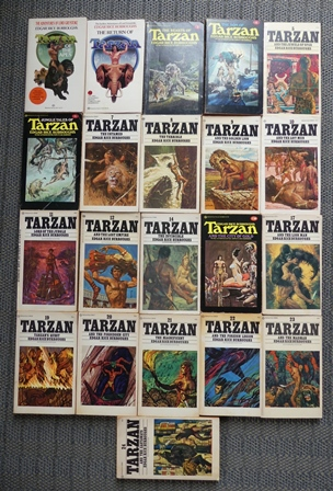 Image for TARZAN NOVELS - 21 of 24 VOLUMES (1-12, 14, 16, 17, 19-24).  TARZAN OF THE APES / RETURN OF TARZAN / BEASTS / SON / JEWELS OF OPAR / JUNGLE TALES / UNTAMED / TERRIBLE / GOLDEN LION / ANT MEN / LORD OF JUNGLE / LOST EMPIRE, ETC.  21 BOOKS IN TOTAL.