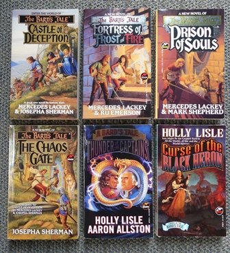 Image for THE BARD'S TALE.  VOLUMES 1-5 & 8.  1. CASTLE OF DECEPTION. 2. FORTRESS OF FROST AND FIRE. 3. PRISON OF SOULS. 4. THE CHAOS GATE. 5. THUNDER OF THE CAPTAINS. 8. CURSE OF THE BLACK HERON.  6 BOOKS IN TOTAL.